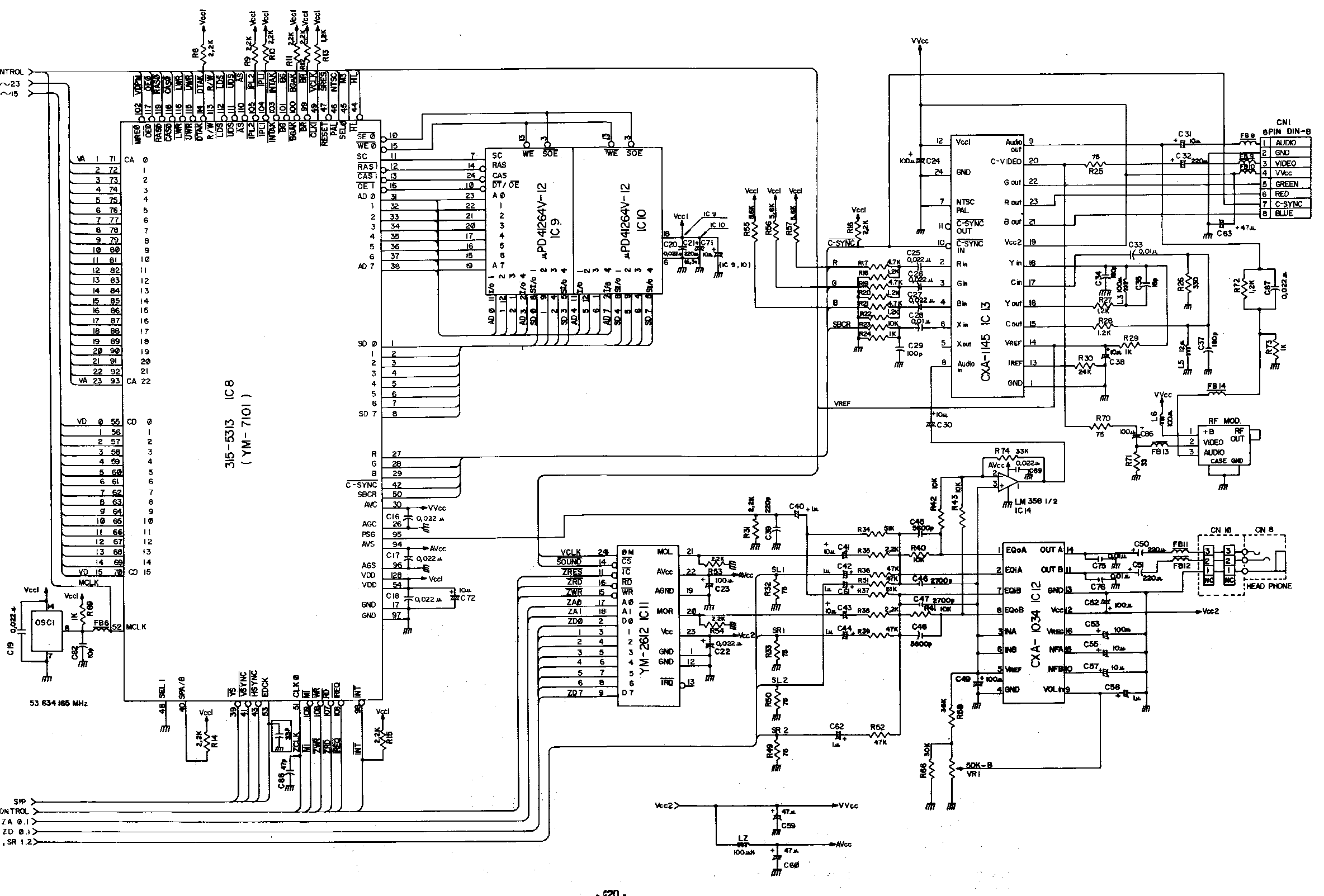 Schematicsconsole Related Schematics Nfg Games Gamesx Two Schematic Wiring Diagram Genesis Sound And Video Block